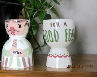 """Mr & Mrs Egg Cup """"For a Good Egg"""" vintage set"""
