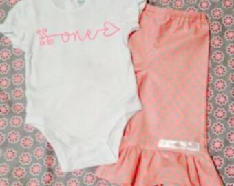 custom personalized birthday one two three arrow ruffle pants set