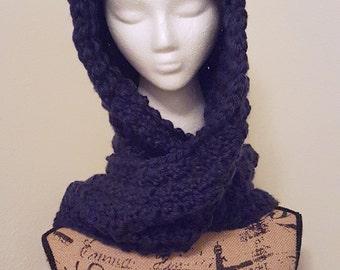 crochet Navy scoodie, snoodie, chunky hooded scarf, crochet scarf, crochet hoodie, handmade snoodie, handmade scoodie, crochet scoodie, gift