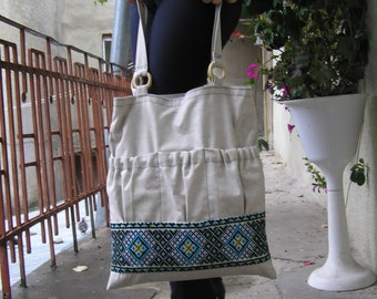 Market Bag, Linen Tote Bag, canvas tote bag with Ukrainian embroidery, no zipper tote.