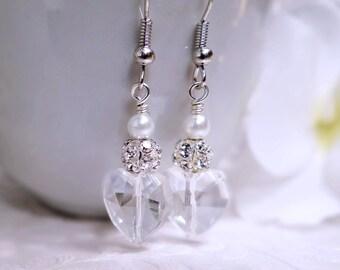 Bridal earrings, Pearl & rhinestone bridal earrings, Crystal heart earrings, Silver and pearl heart earrings, Wedding earrings, Bridal party