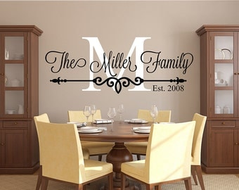 family name wall decal personalized family monogram living room decor established date vinyl - Wall Design Decals
