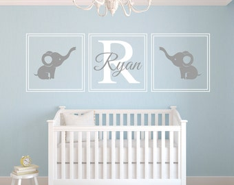 Custom Name Wall Decal - Elephants Wall Decal - Nursery Wall Decal - Baby Room Decor - Nursery Wall Decals Vinyl
