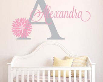 Girl Name Wall Decal - Dahlia Flower Wall Decal - Baby Girl Name Decal - Nursery Wall Decal - Flower Decal - Girls Room Wall Art