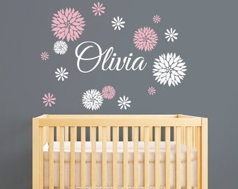 Name Wall Decal Dahlia Flowers Baby Girl Nursery Decal - Personalized wall decals for nursery