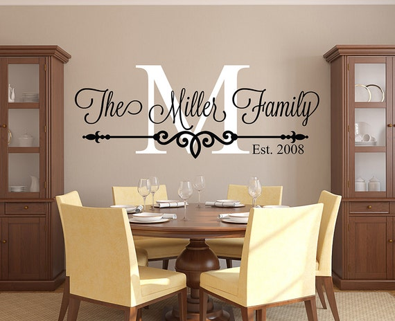 family name wall decal personalized family monogram living. Black Bedroom Furniture Sets. Home Design Ideas