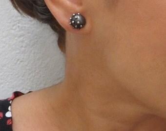 Oxidized Silver Ball Stud Earrings, Minimalist Earrings, Oxidized silver Earrings, Stud Silver Earrings, Asymetric Earrings, Oxidized silver