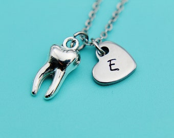 Tooth Pendant Charm Necklace Silver Tooth Charm Dental Necklace Dental Hygiene Necklace Personalized Initial Necklace Gifts for Her under 30