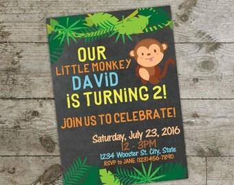 Monkey Birthday invitation, monkey party invitation, monkey party invite, zoo invitation, jungle party invitation, kids party invitation