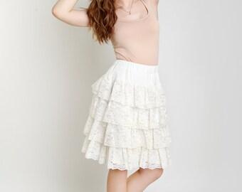 White lace skirt Small US 6 Medium US 8 Ruffle skirt Flounce skirt Elastic waist skirt Midi skirt Spring fashion Cream white lace skirt
