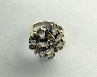 Edwardian style engagment silver and stones ring, edwardian jewels, antique jewels-Edwardian Ring in silver and white stones