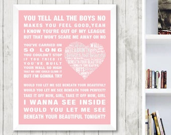 Labrinth Beneath Your Beautiful Music Love Song Lyrics Word Art Print Poster Heart Design Wall Decor Framed Picture Gift Free UK Postage