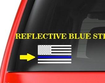 American Flag (M9) Thin Blue Line Cop Police Vinyl Decal Sticker Car Window