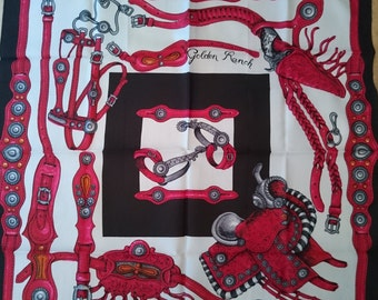 Vintage French Scarf - Red Black and White Equestrian Design in Satin - Unused and Perfect From 1970s Stock