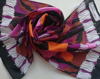 Odile St Germain Paris Long Polyester Vintage Scarf - Retro Flowers in Black White Orange and Purple - Unused and Perfect From 1970s Stock