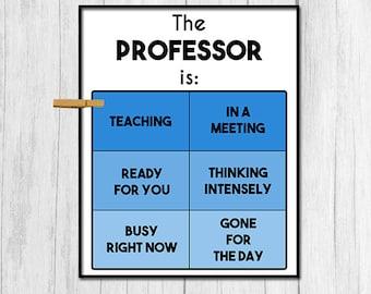 Professor Gift Door Sign Digital Download Gift for Professor Door Decor Office Sign Office Decor Instant Download Office Printabes