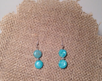 Turquoise and etched silver bead simple dangle earrings