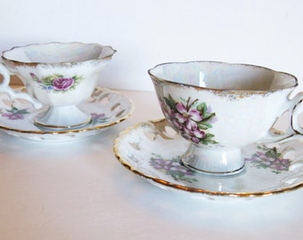 Footed Tea Cups and Saucers, Pearlized Glaze Finish UCAGCO Ceramics