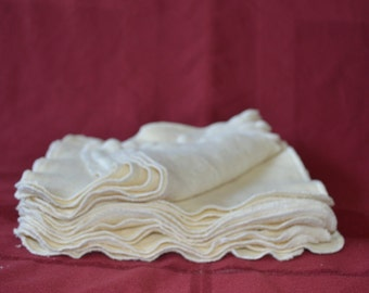 "SALE!!! Set of 24 - 8"" x 8"" Organic Hemp Cotton Fleece Wipes- Baby Wipe, Wash Cloth, Facial Wipes"
