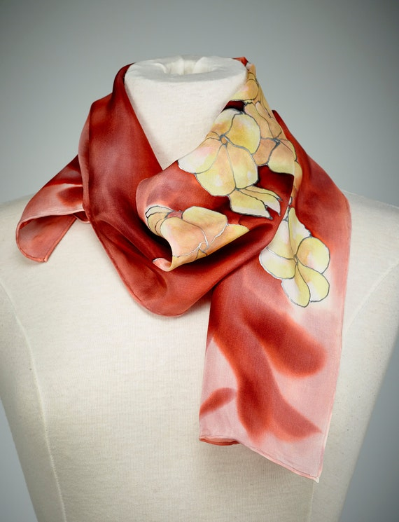 painted silk scarf silk shawl using dyes white