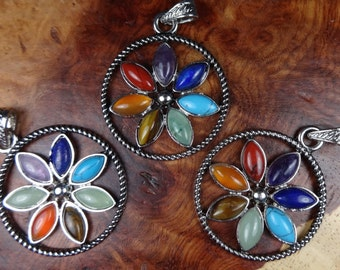 Reiki Necklace - 7 Gemstone Chakra Flower Pendant - Crystal Jewelry (L43) Natural Gemstones - Seven Chakras - Healing Crystals and Stones