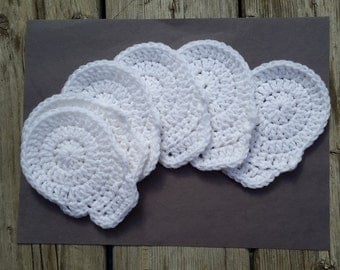 Skulls coasters, coasters crochet, scary place mats, coasters white, skulls halloween, skull and crossbones, cotton coasters