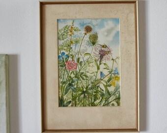 Zartes Blumenbild im Rahmen, sehr hübsch, dekorativer Hingucker, schönes Geschenk
