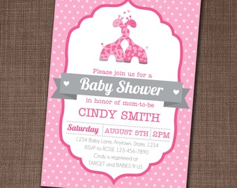 Baby Shower Invitation - Baby Shower Invite - Baby Girl Shower Invite - Giraffe Baby Shower Invitation - Edit yourself at home!