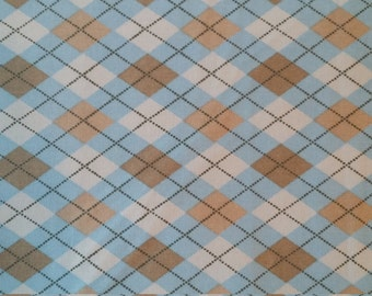 SUPER SALE!! Blue and tan Argyle Fabric by Richlin fabrics