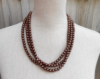 Brown pearl necklace great for wedding, bridesmaid, bridal, birthday gift, anniversary, Valentine, Mothers day and more other occasion