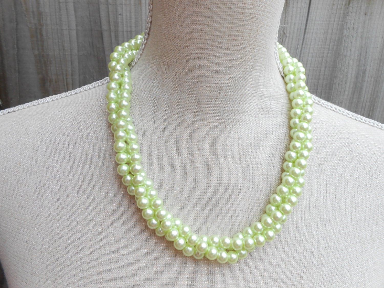 pale green pearl necklace glass modern classic for