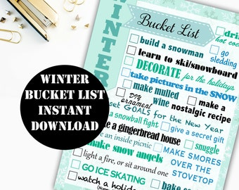Winter Bucket List Printable Digital Download // Erin Condren Printable / Plum Paper Printable / Planner Insert Digital Download 00107