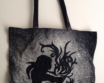 Magic Book Tote Bag - Black Tote Bag - Canvas Tote Bag - Large Tote Bag - Artistic Tote Bag - Girl Tote Bag - Gift for Readers