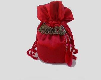 Drawstring gift bag - Drawstring close pouch - silk red pouch decorated with vintage lace, chain, beads and feathers