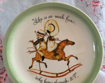 "Vintage 1970's Holly Hobbie Collector's Plate. ""Life Is So Much Fun... Why Hurry Through It?"""