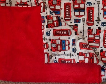 "Minky & Flannel Baby Blanket~38"" x 29""~ London icons"