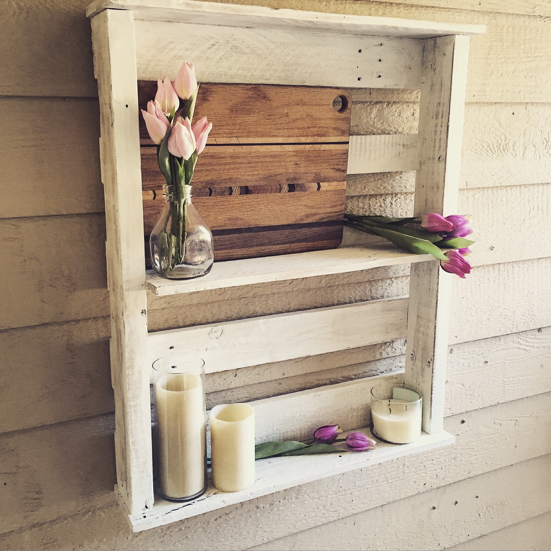 Shabby Chic White Wood Bathroom Wall Shelves Reclaimed Pallet