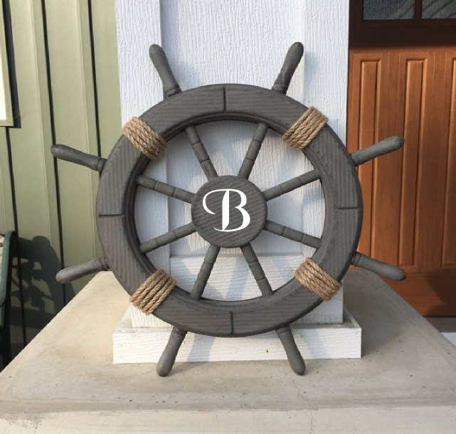 Nautical Wheel Decor: Monogrammed Antique Grey 18 Nautical Ship Wheel