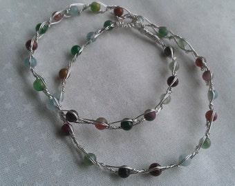 sterling silver bracelet , necklace , gemstone bracelet , wire wrapped bracelet , handmade jewelry