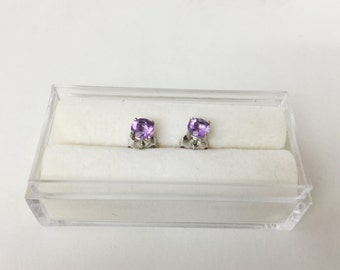 Purple Amethyst 14k White Gold 0.60 CT. 4 mm round Stud Earrings