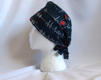 Navy Blue EKG Hearts Surgical Scrub Cap Dental Chemo Hat