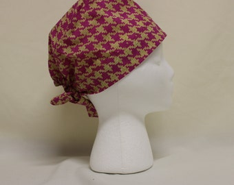 Hot Pink and Tan Houndstooth Surgical Dentist Scrub Cap Chemo Hat