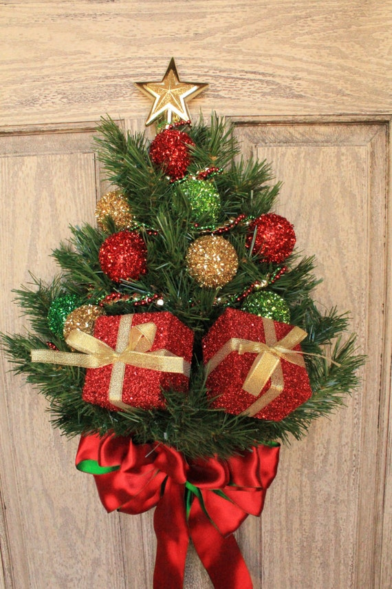 Wall Mounted Artificial Pine Christmas Tree by LoveJoyandWreaths