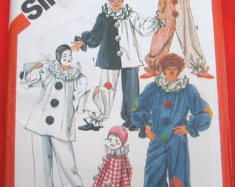 UNCUT Clown Costumes with neck ruffle and hat pattern, Simplicity 5740 sz Medium 36 38