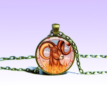 Zodiac Sign Aries March 21 - April 20 Vintage Pendant Astrology NECKLACE Zodiac Jewelery Charm Pendant for Him or Her