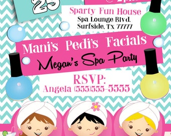 Spa Party Invitation, Spa Birthday Invitation, Spa Party Supplies, Girls Spa Party Invitation, Spa Party