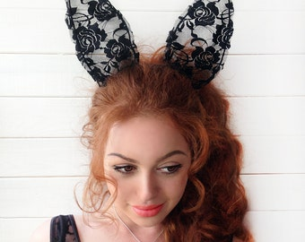 SALE25% Bunny Ears, Lace Bunny Ears Headband, Lace rabbit ears headband, Cosplay Headband, Bachelorette Accessory, Costume Ears, Rabbit Ears