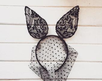 Bunny Veil, Sexy Bunny Mask, Lace Black Bunny Ears, Bunny Ears, Black Lace Mask, Party Pieces, Masked Bunny, Lolita headband, Rabbit Ears