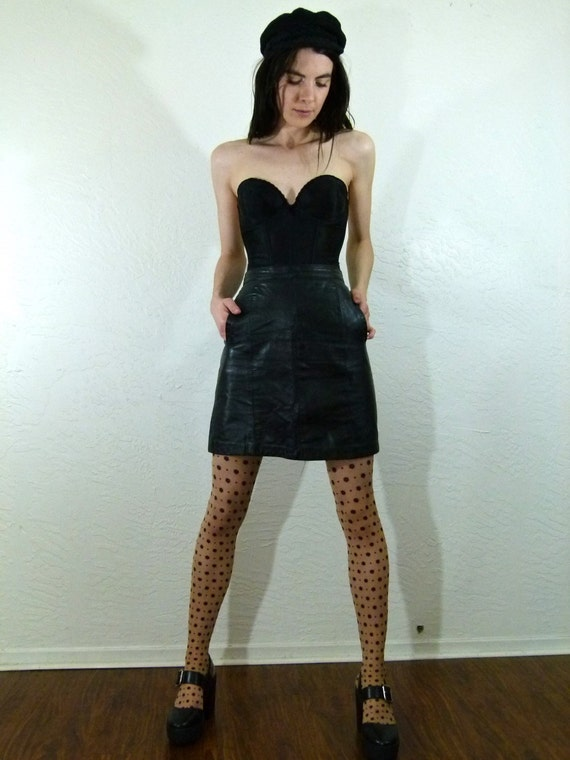 60s Bad Girl Leather Skirt size 26