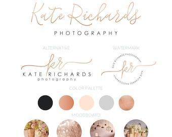 Premade Mini Branding Kit, Logo, Alternative Logo, Round Watermark, Color Palette, Customizable, Rose Gold, Elegant